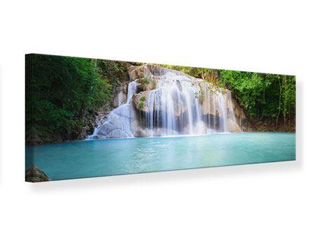 Leinwandbild Panorama Terrasse am Wasserfall