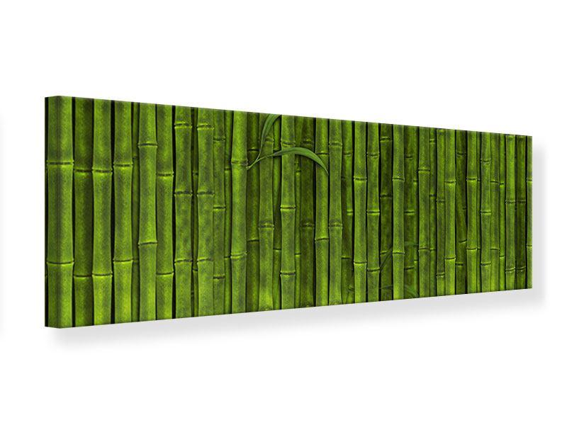 Leinwandbild Panorama Wasserspiegelung Bambus