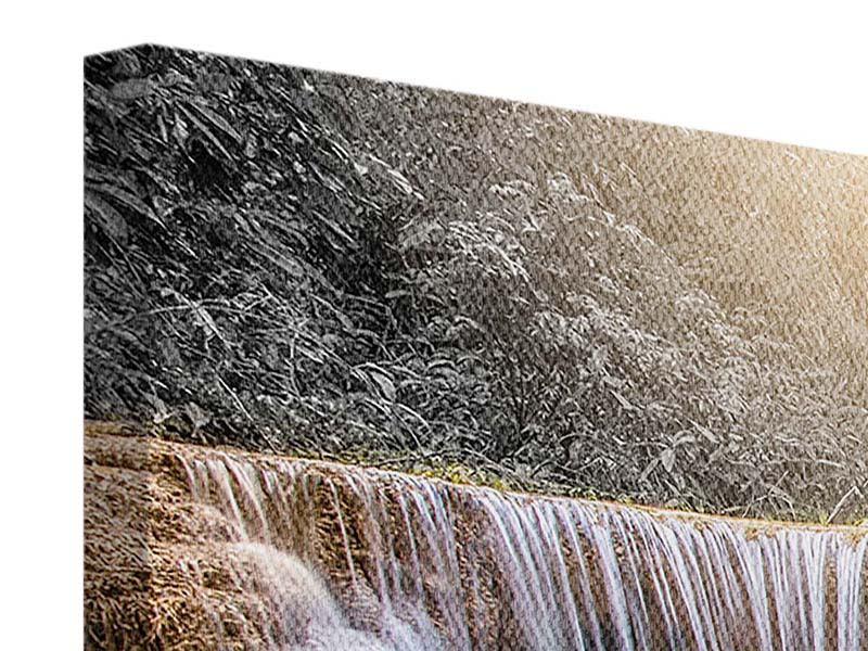 Leinwandbild Panorama Glücklicher Wasserfall
