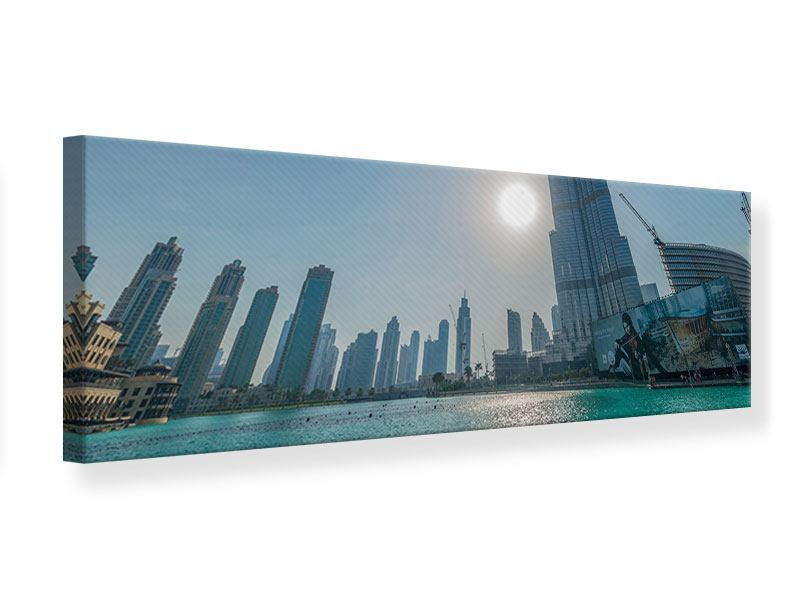 Leinwandbild Panorama Wolkenkratzer-Architektur Dubai