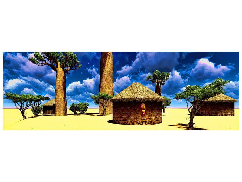 Leinwandbild Panorama Ein Dorf in Afrika