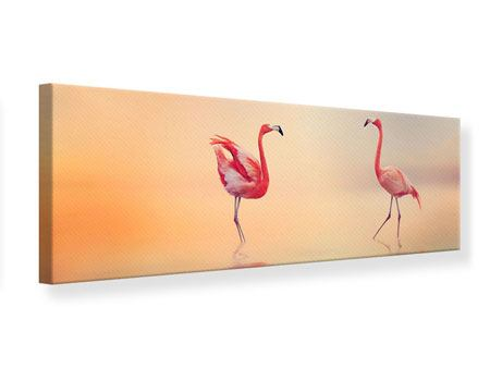 Leinwandbild Panorama Romantische Flamingos