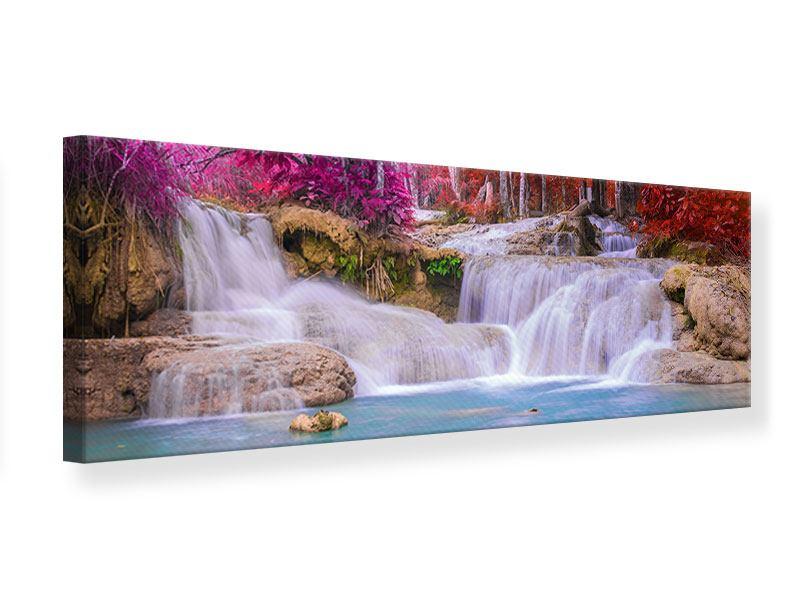 Leinwandbild Panorama Paradiesischer Wasserfall