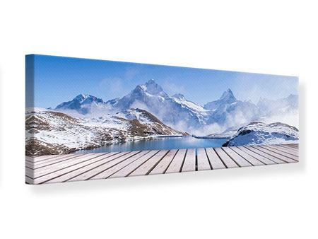Leinwandbild Panorama Sonnenterrasse am Schweizer Bergsee