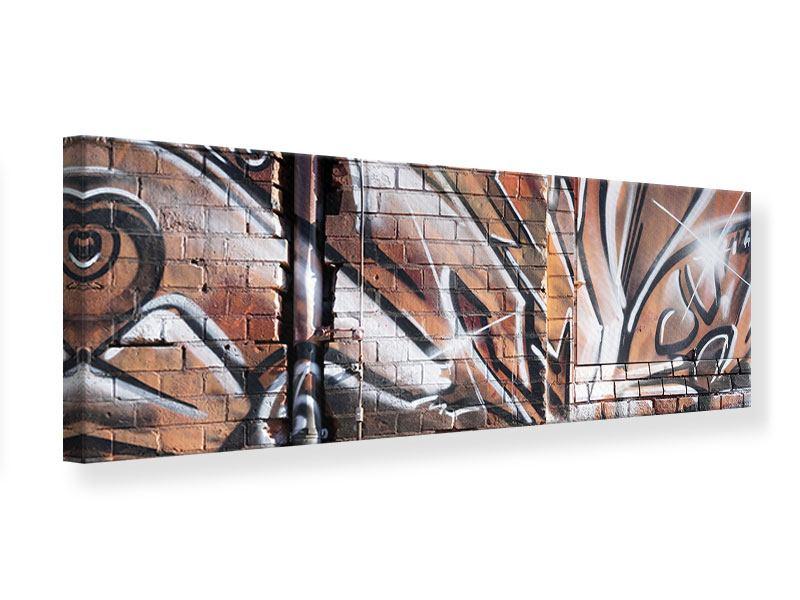 Leinwandbild Panorama Graffiti Mauer