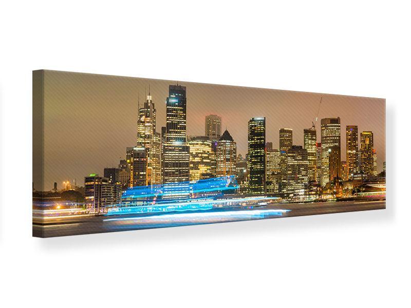 Leinwandbild Panorama Skyline Sydney im Lichtermeer