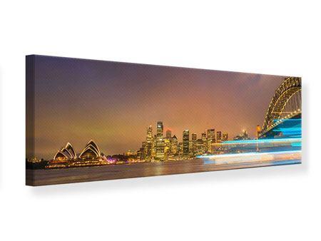 Leinwandbild Panorama Skyline Opera House in Sydney im Abendlicht