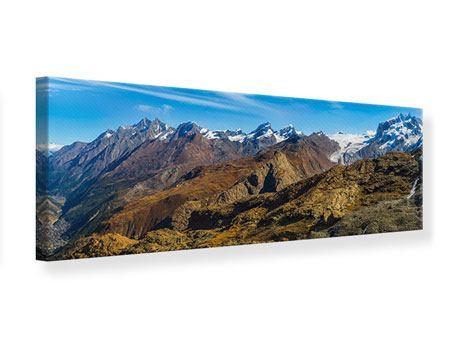 Leinwandbild Panorama Schweizer Alpen im Frühling