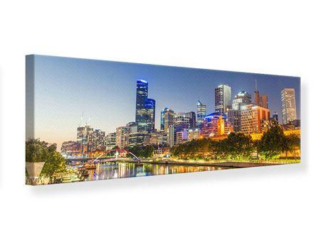 Leinwandbild Panorama Skyline Sydney in der Abenddämmerung