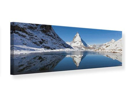 Leinwandbild Panorama Der Riffelsee am Matterhorn