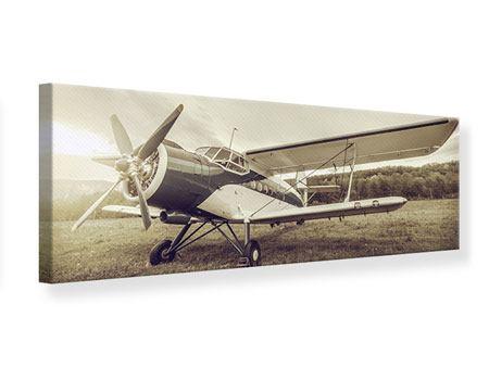 Leinwandbild Panorama Nostalgisches Flugzeug im Retrostyle