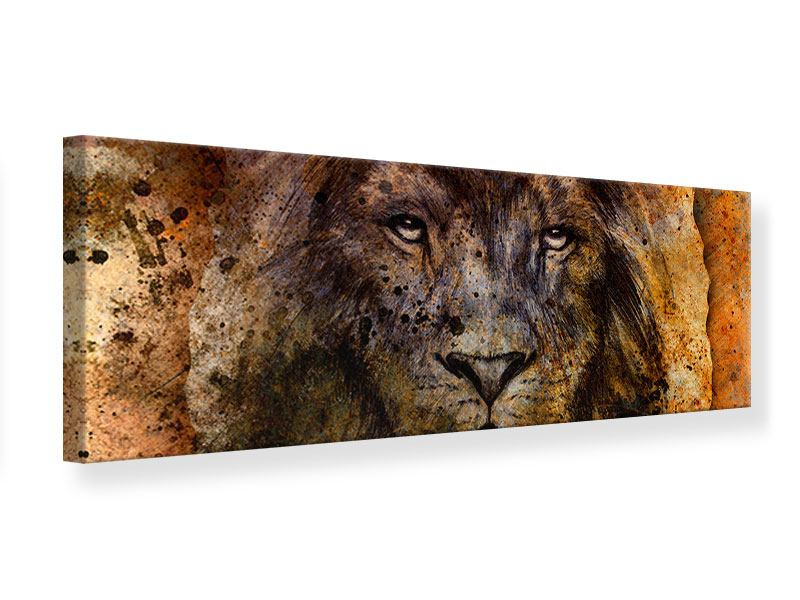 Leinwandbild Panorama Portrait eines Löwen
