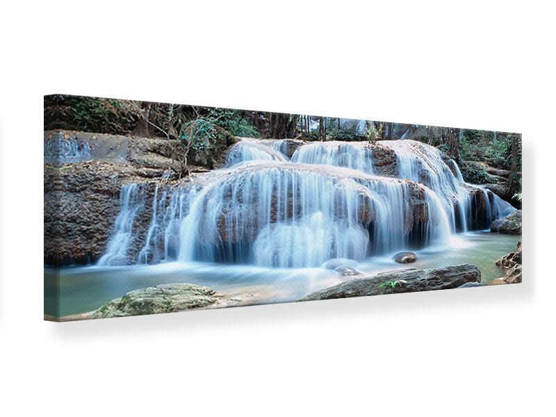 Leinwandbild Panorama Ein Wasserfall