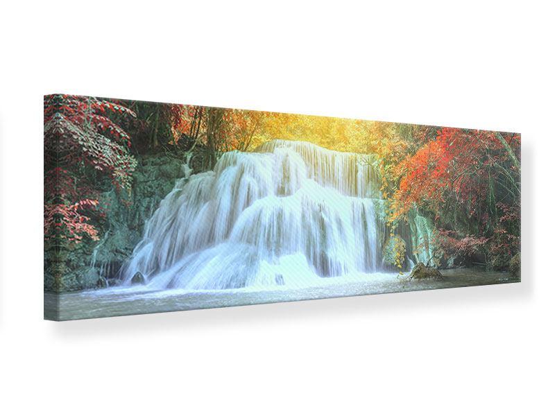 Leinwandbild Panorama Wasserfall im Licht