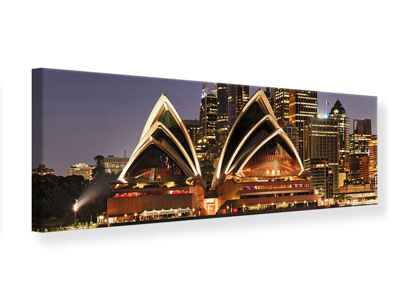 Leinwandbild Panorama Skyline Mit dem Boot vor Sydney