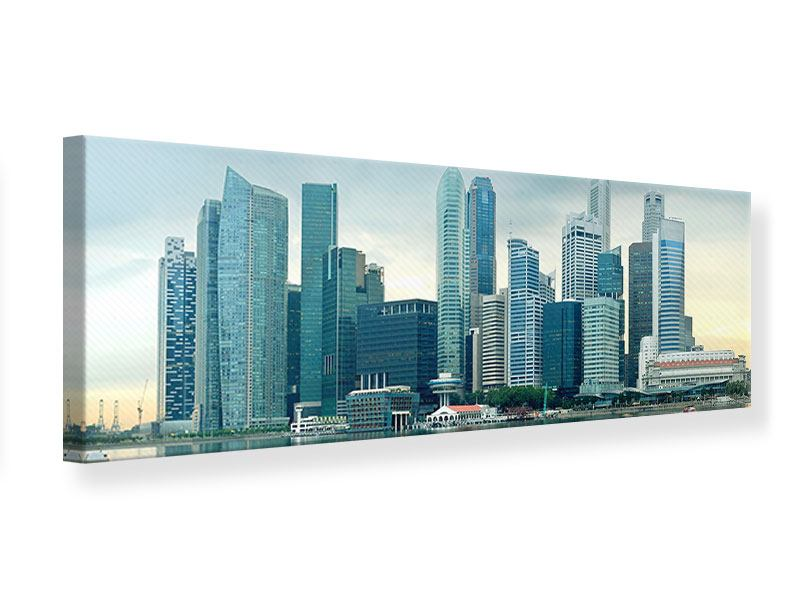 Leinwandbild Panorama Skyline Sonnenaufgang in Singapur