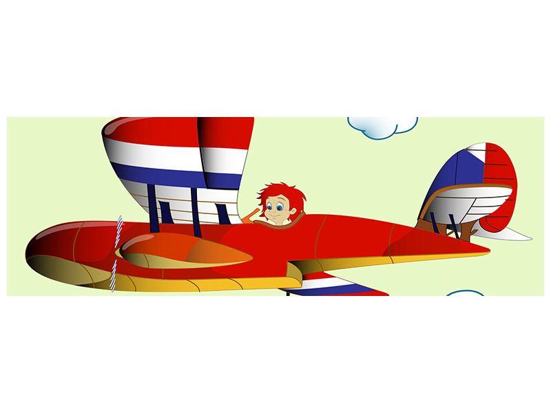 Leinwandbild Panorama Der fliegende Junge