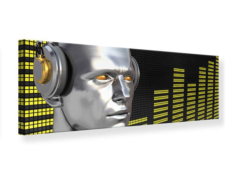 Leinwandbild Panorama Futuristischer DJ
