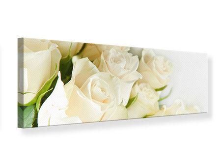 Leinwandbild Panorama Weisse Rosen