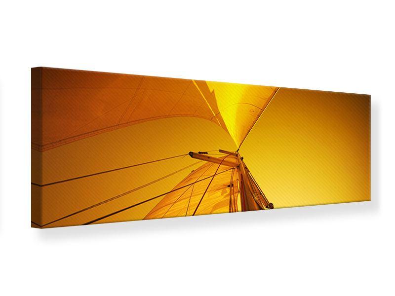 Leinwandbild Panorama Segelboot im Sonnenuntergang