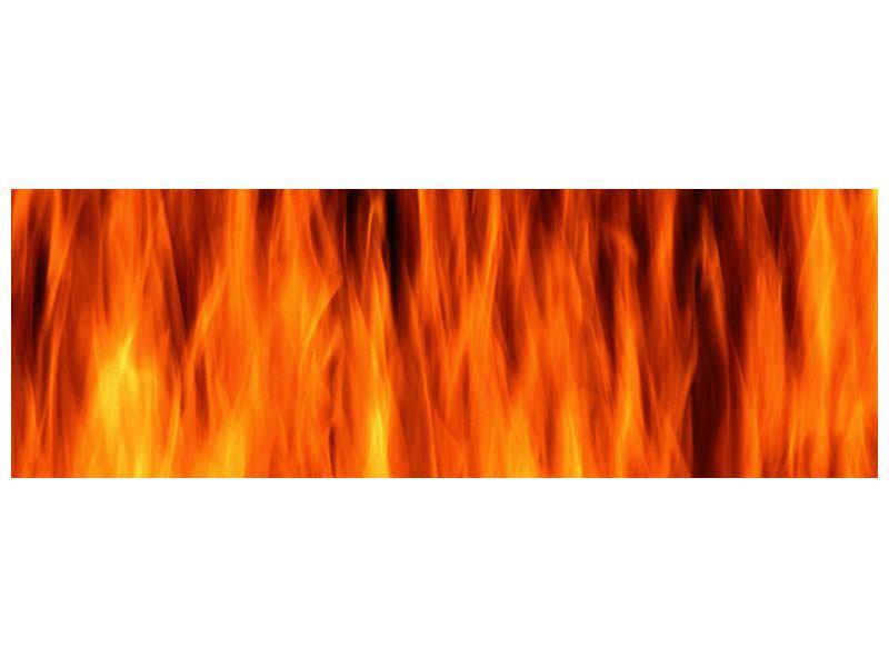 Leinwandbild Panorama Feuer Close Up