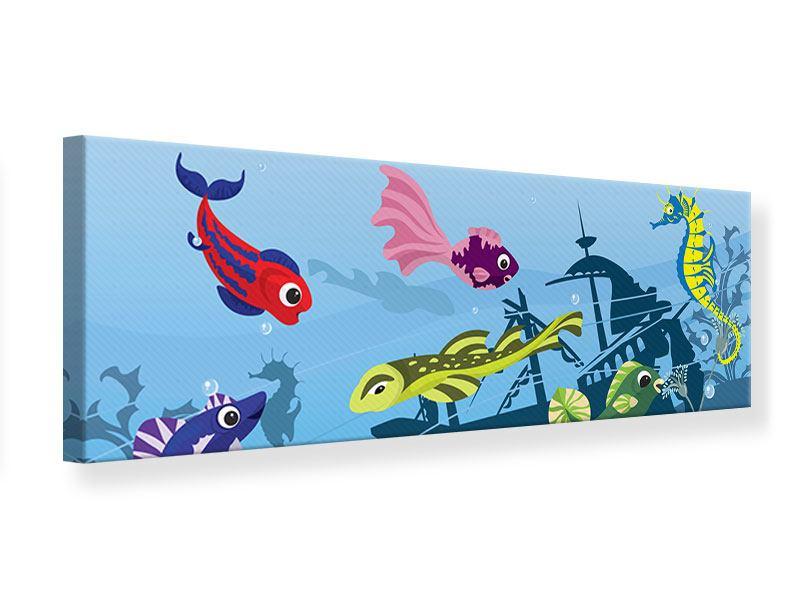 Leinwandbild Panorama Fische im Wasser