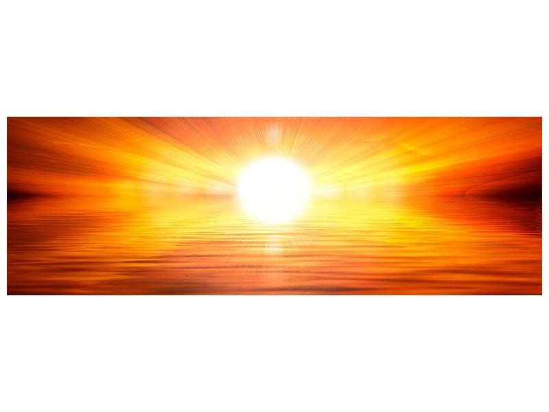 Leinwandbild Panorama Glühender Sonnenuntergang