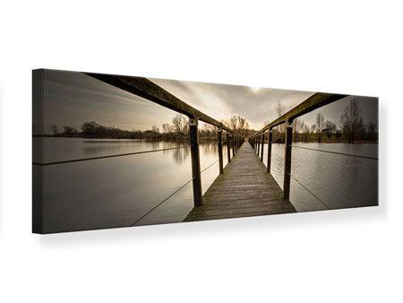 Leinwandbild Panorama Die Holzbrücke