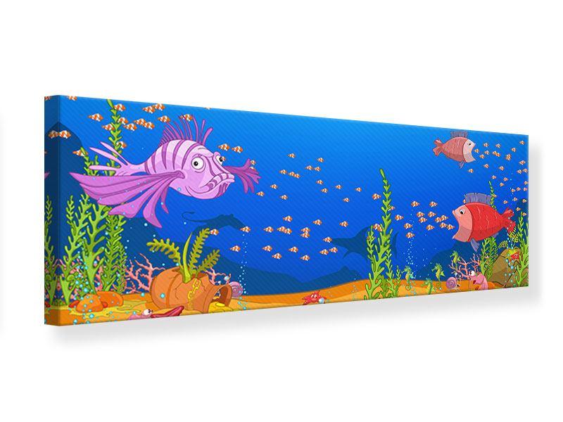 Leinwandbild Panorama Der Schatz unter Wasser