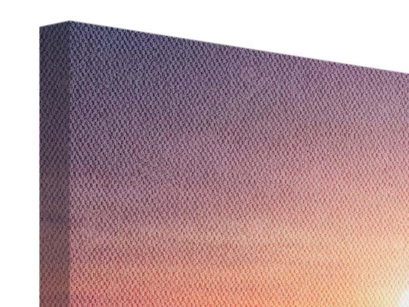 Leinwandbild Panorama Sonnenuntergang auf See
