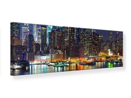 Leinwandbild Panorama Skyline New York Midtown bei Nacht