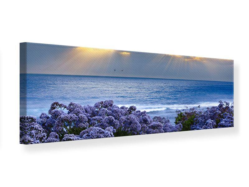 Leinwandbild Panorama Der Lavendel und das Meer