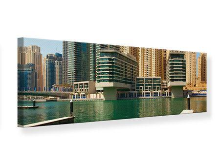 Leinwandbild Panorama Spektakuläre Wolkenkratzer Dubai