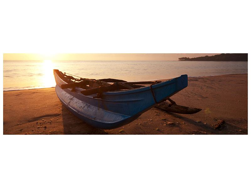 Leinwandbild Panorama Das gestrandete Boot
