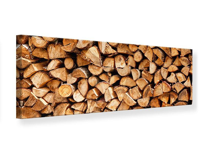 Leinwandbild Panorama Gestapeltes Holz