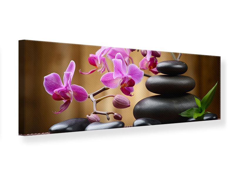 Leinwandbild Panorama Wellness-Steine