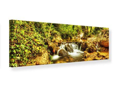 Leinwandbild Panorama Wasserfall im Wald