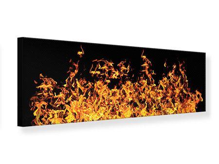 Leinwandbild Panorama Moderne Feuerwand