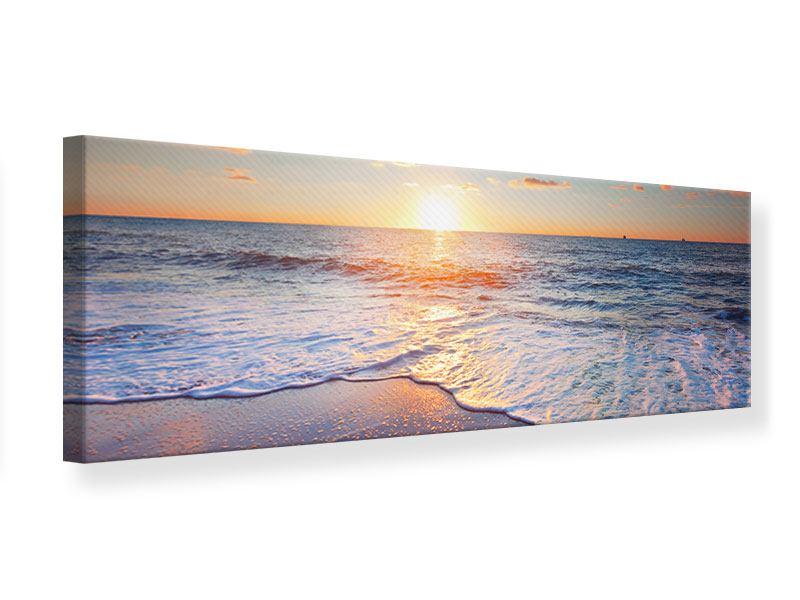 Leinwandbild Panorama Sonnenuntergang am Horizont