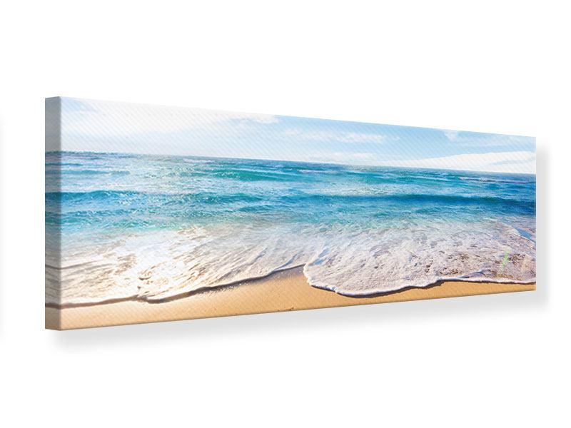 Leinwandbild Panorama Spuren im Sand