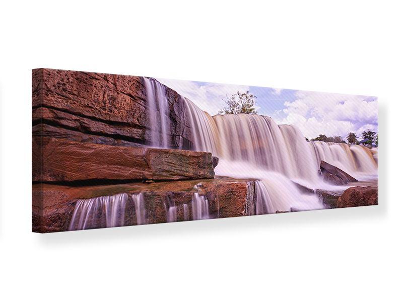Leinwandbild Panorama Himmlischer Wasserfall