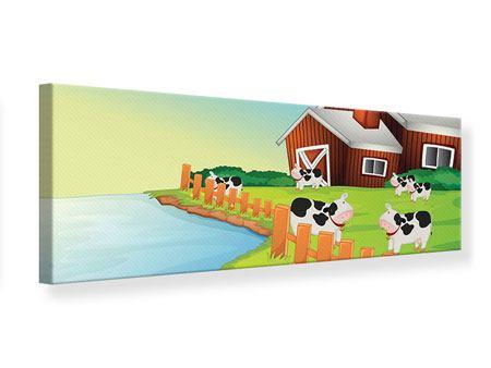 Leinwandbild Panorama Eine Kuh macht Muh