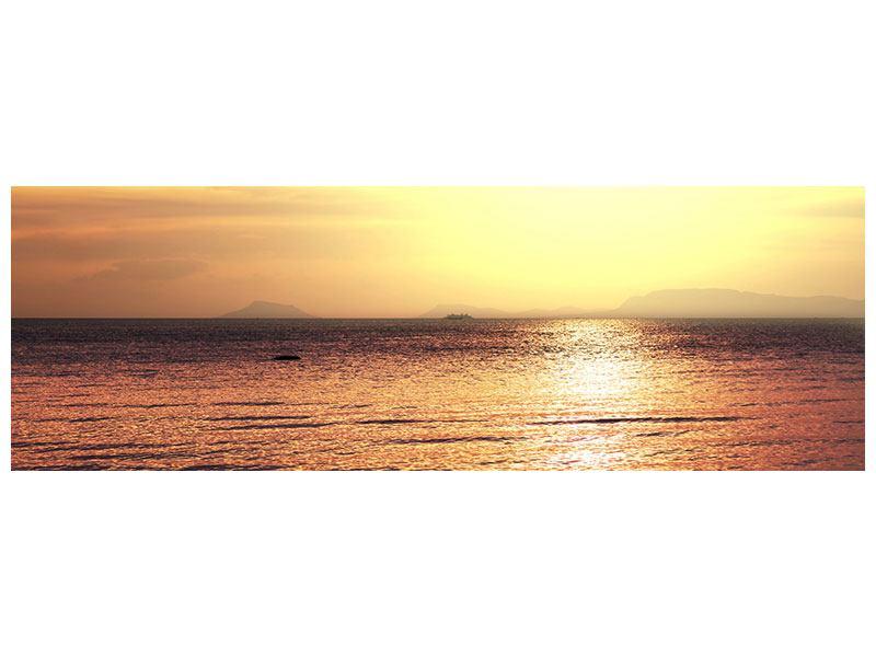 Leinwandbild Panorama Sonnenuntergang an der See