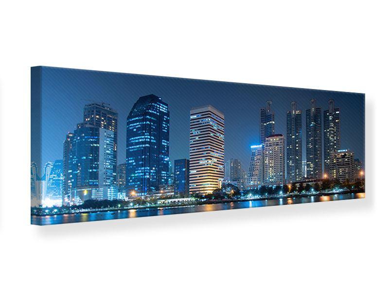 Leinwandbild Panorama Skyline Bangkok bei Nacht