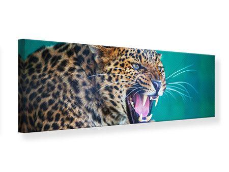 Leinwandbild Panorama Achtung Leopard