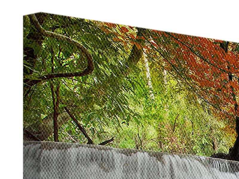 Leinwandbild Panorama Erawan Wasserfall