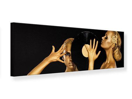 Leinwandbild Panorama Gold-DJ`s