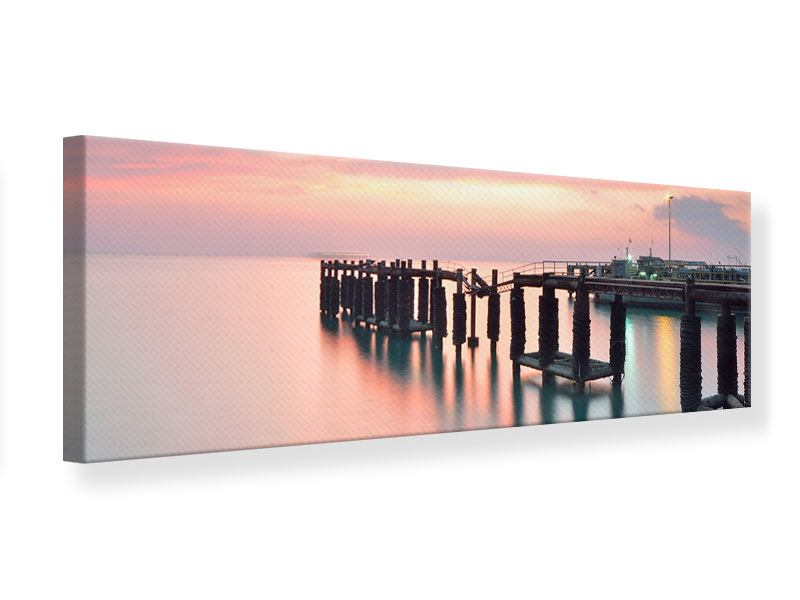 Leinwandbild Panorama Der beruhigende Sonnenuntergang