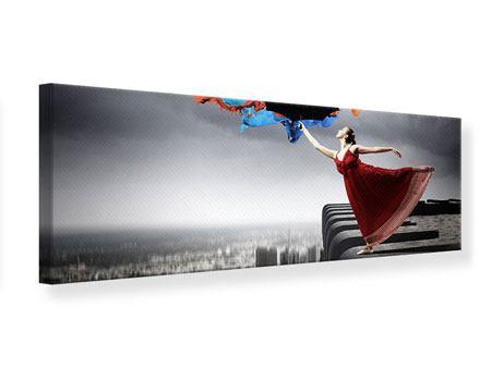 Leinwandbild Panorama Tanz auf dem Wolkenkratzer