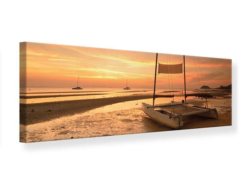 Leinwandbild Panorama Sonnenuntergang am Strand